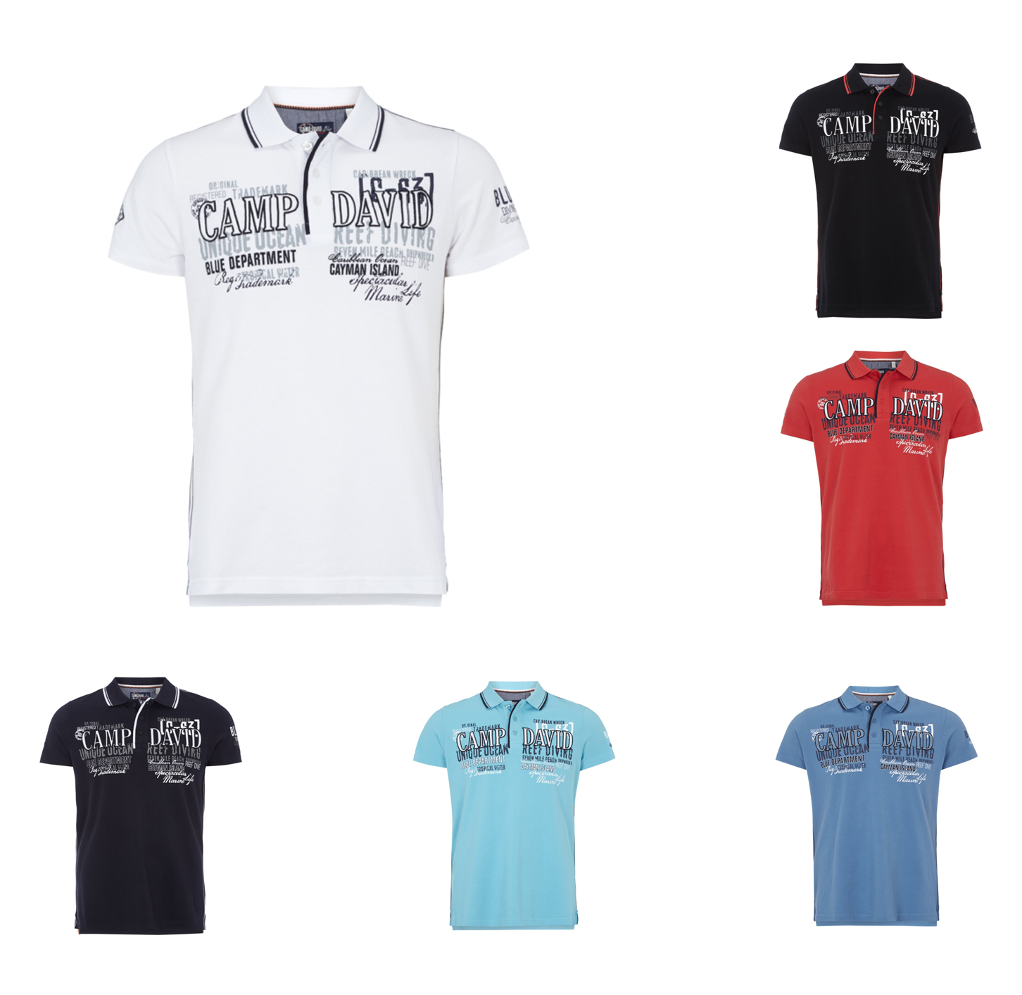 camp david poloshirt mit logo applikationen und prints herren neu ebay. Black Bedroom Furniture Sets. Home Design Ideas