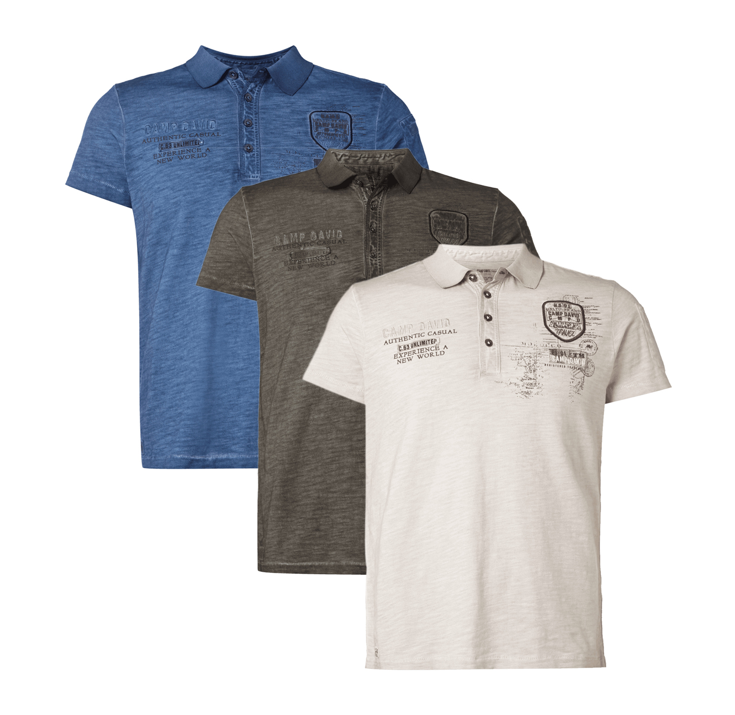 camp david poloshirt im washed out look herren polo neu ebay. Black Bedroom Furniture Sets. Home Design Ideas