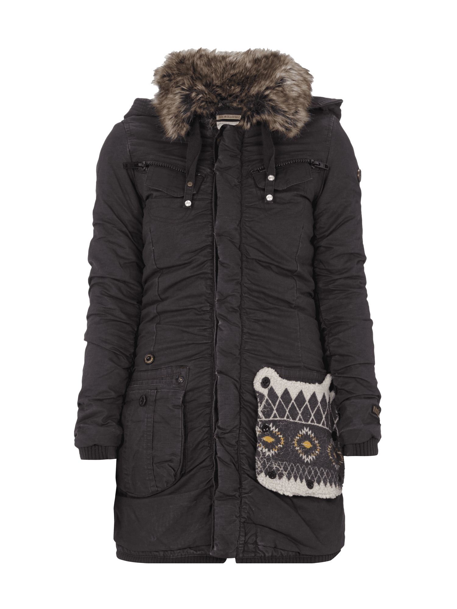 khujo parka mit abnehmbarer kapuze webpelz aus baumwolle winterjacke damen neu ebay. Black Bedroom Furniture Sets. Home Design Ideas