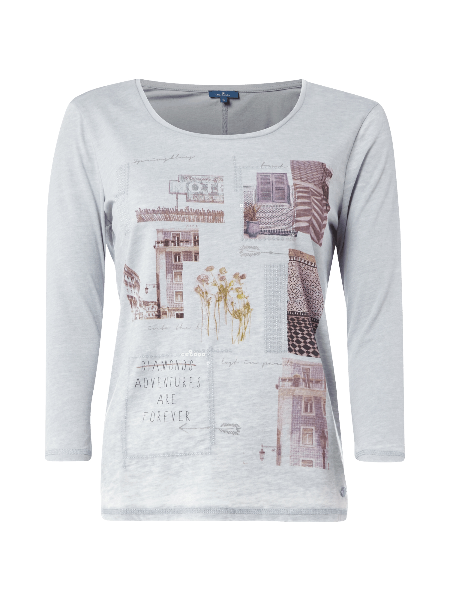 tom tailor shirt mit print und pailletten besatz damen t shirt neu ebay. Black Bedroom Furniture Sets. Home Design Ideas